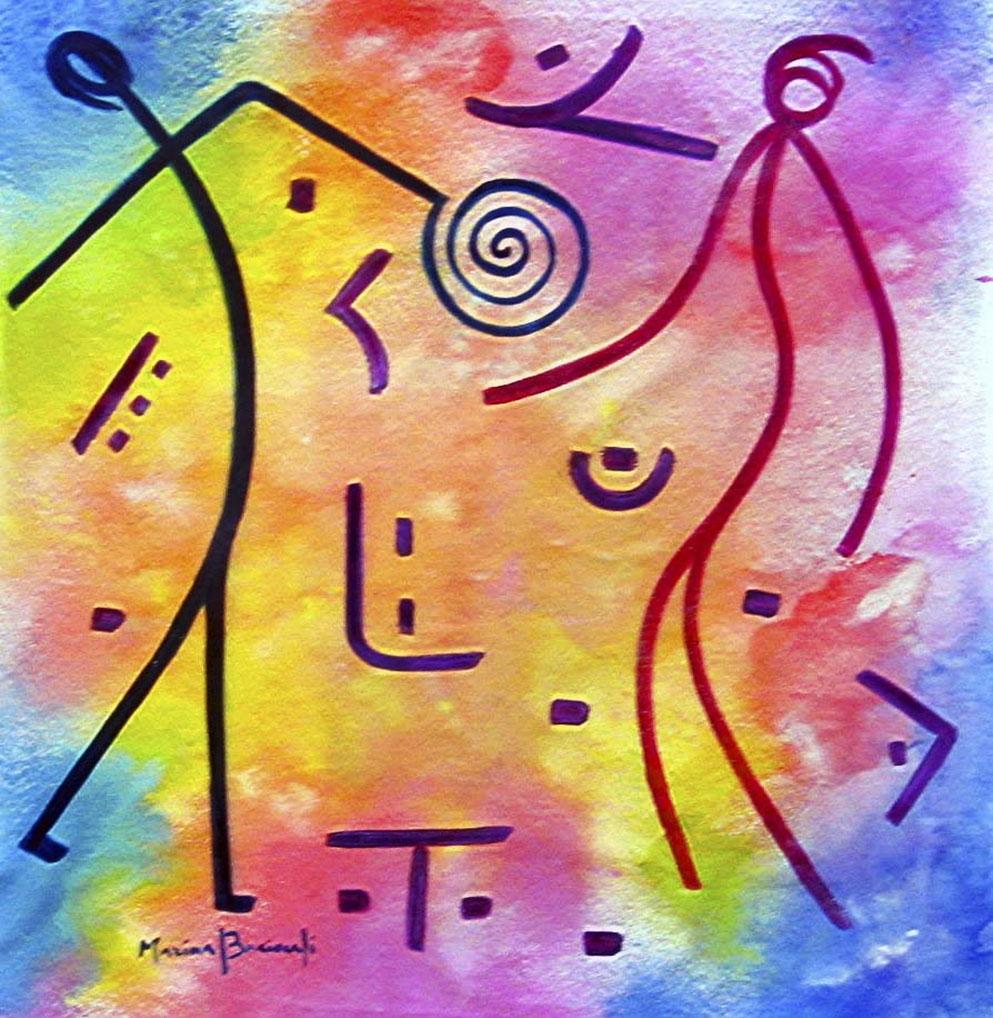 Tempo... suono. Opera realizzata con olio su tela, formato 100 x 100